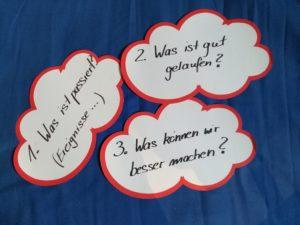 Lessons Learned Fragen auf Wortwolken